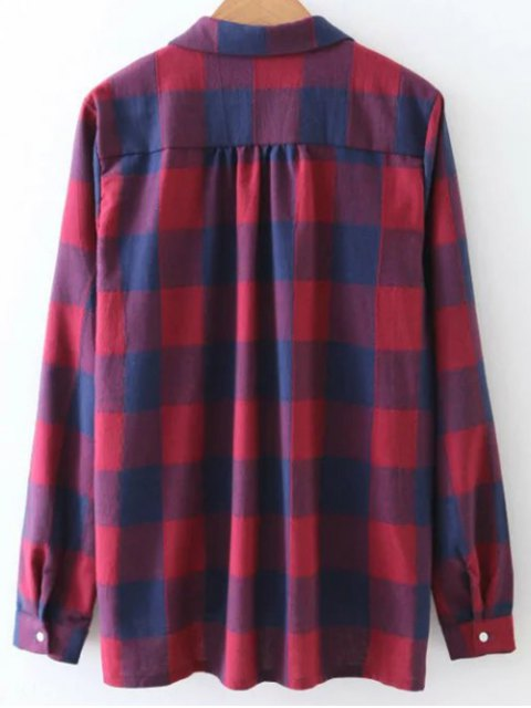 outfits Checked V Neck High Low Blouse - PLAID S Mobile