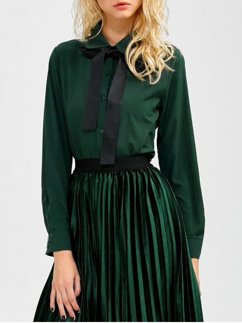 ladies Boyfriend Long Sleeve Bowknot Shirt - BLACKISH GREEN L Mobile