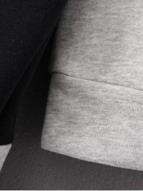 lady Mock Neck Color Block Sweatshirt - BLACK AND GREY S Mobile