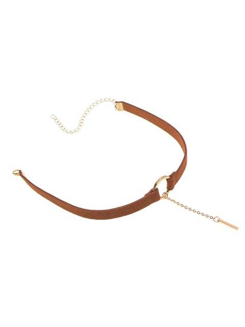 women's Chain Tassel Circle Velvet Choker - BROWN  Mobile