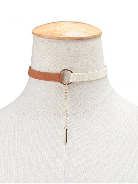 online Chain Tassel Circle Velvet Choker - WHITE AND BROWN  Mobile
