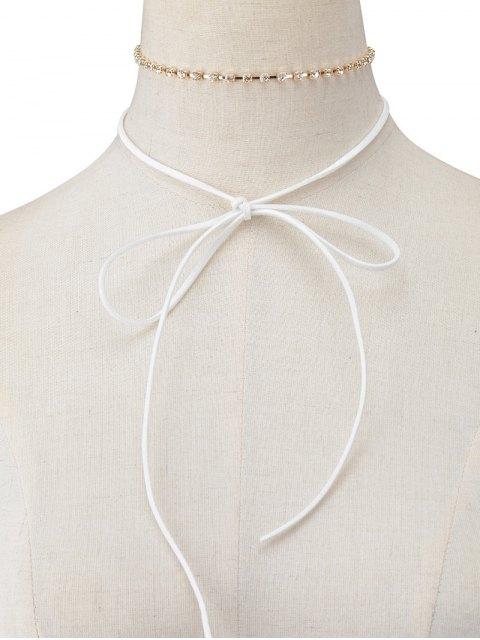 women Velvet Bowknot Rhinestone Choker Necklace Set - WHITE  Mobile