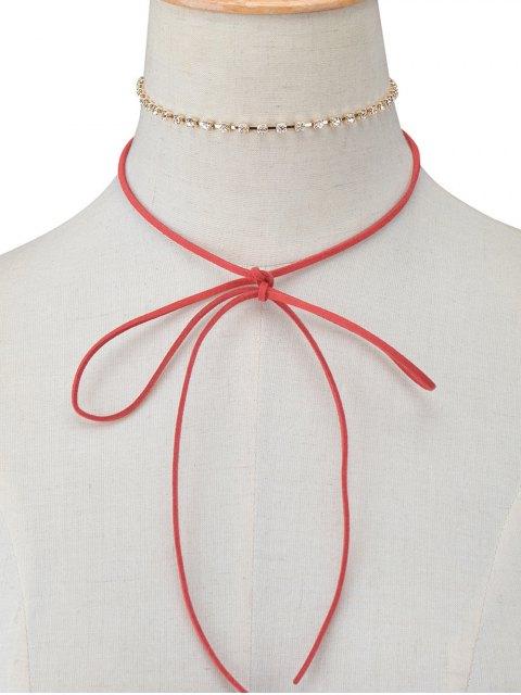 ladies Velvet Bowknot Rhinestone Choker Necklace Set - BURGUNDY  Mobile