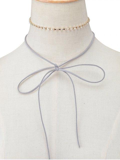 lady Velvet Bowknot Rhinestone Choker Necklace Set -   Mobile