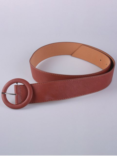 shops PU Round Buckle Belt - CHOCOLATE  Mobile