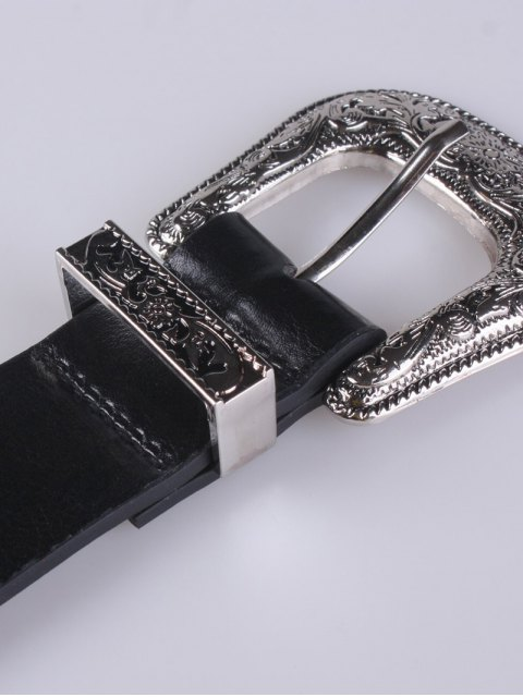 latest Rivet Double Buckle Belt - BLACK  Mobile