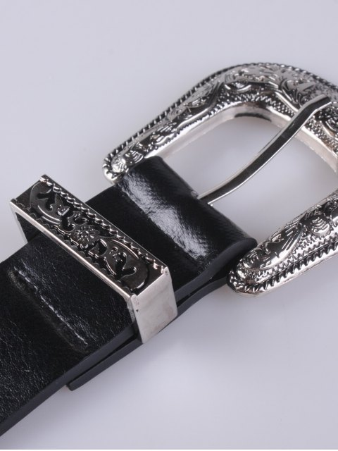 trendy Embellished Double Buckle Belt -   Mobile