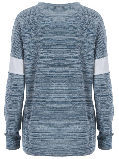 unique Space Dyed Arrow Pattern V Neck T-Shirt - LIGHT BLUE M Mobile