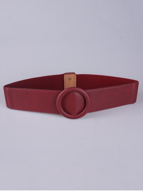 fancy Round Buckle Stretch Belt - RED  Mobile