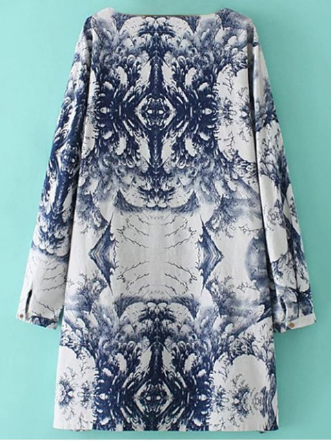 unique Linen Blend Chinese Painting Dress - BLUE AND WHITE ONE SIZE Mobile