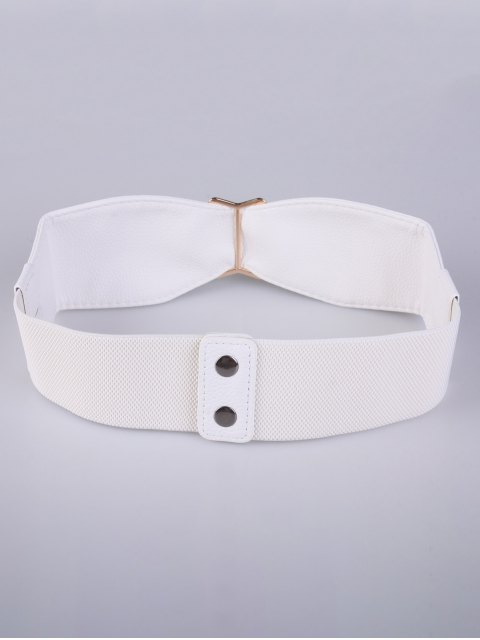 sale Bowknot Buckle Stretch Belt - WHITE  Mobile