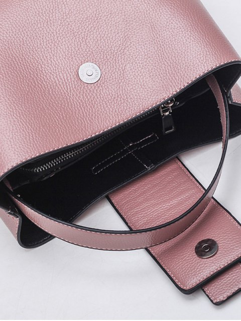 latest Magnetic Closure Textured Leather Metallic Tote Bag - PINK  Mobile