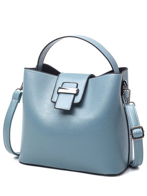 fashion Magnetic Closure Textured Leather Metallic Tote Bag - LIGHT BLUE  Mobile