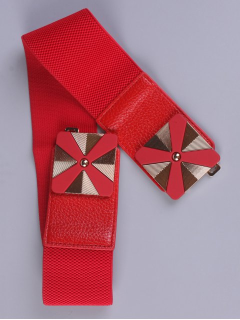 hot Square Alloy Stretch Belt - RED  Mobile