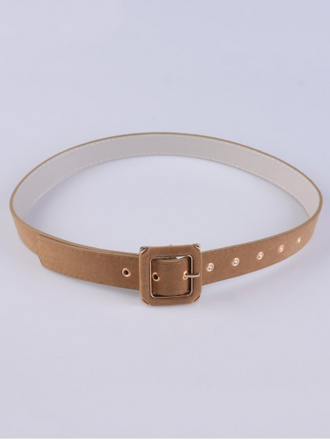 latest Square Buckle Velvet Belt - CAMEL  Mobile