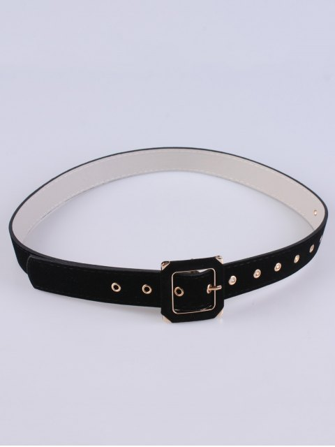 trendy Square Buckle Velvet Belt - BLACK  Mobile