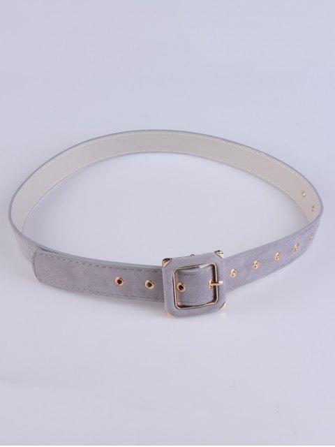 chic Square Buckle Velvet Belt - GRAY  Mobile