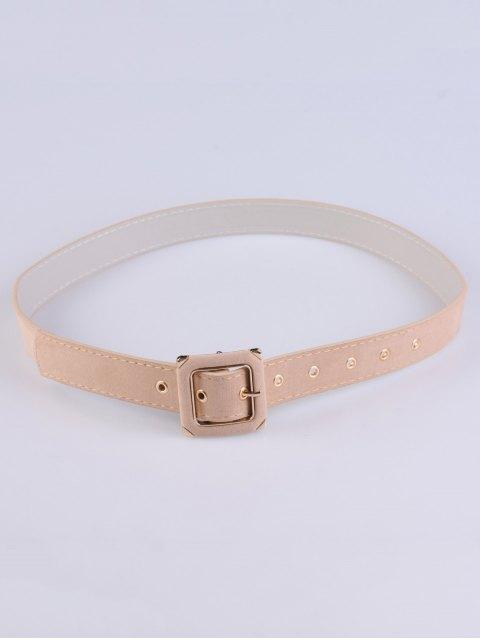 fancy Square Buckle Velvet Belt - LIGHT BEIGE  Mobile