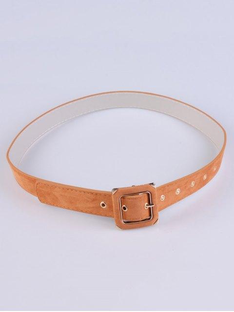 affordable Square Buckle Velvet Belt - KHAKI  Mobile