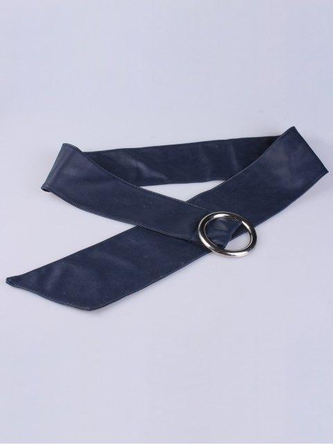 women Alloy Ring PU Belt - DEEP BLUE  Mobile