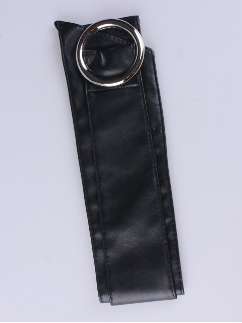 ladies Alloy Ring PU Belt - BLACK  Mobile