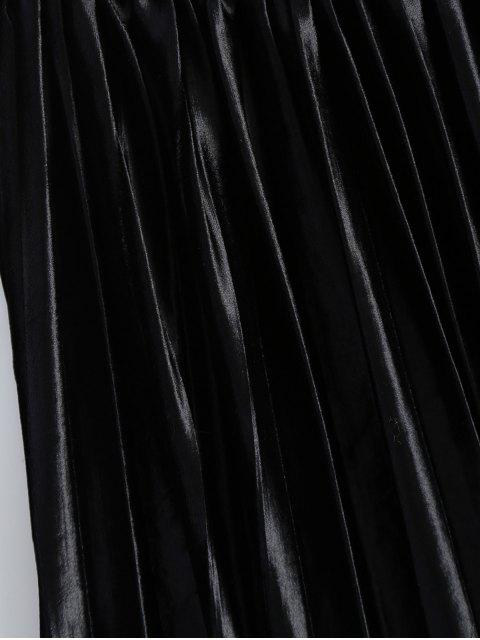 women Shiny Pleated Midi Skirt - BLACK S Mobile