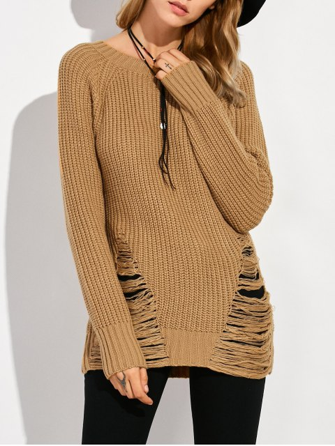 fancy Ripped Chunky Crew Neck Sweater - BROWN L Mobile