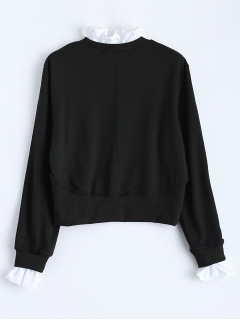 women Ruffles Panel Cropped Pullover Sweatshirt - BLACK L Mobile