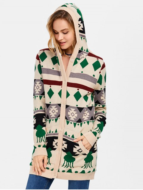 women Hooded Fleece Geometric Cardigan - PALOMINO XL Mobile