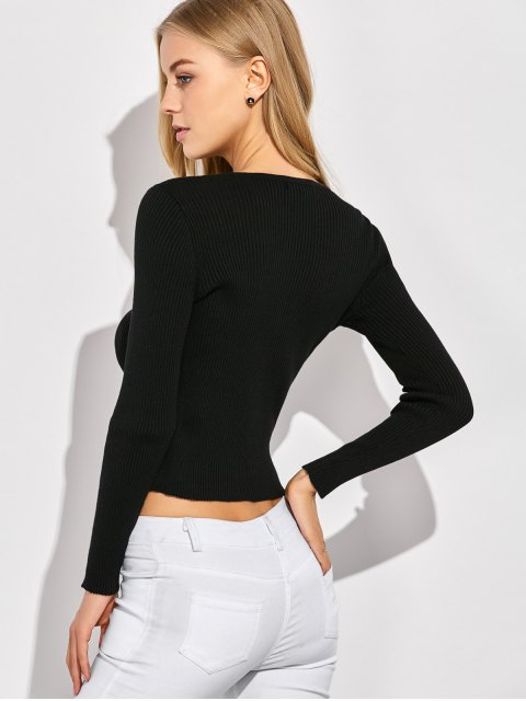 affordable Ribbed Lace Up Jumper - BLACK XL Mobile