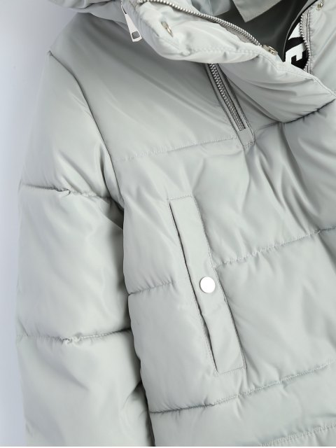 affordable Hooded Quilted Padded Coat - GRAY XL Mobile