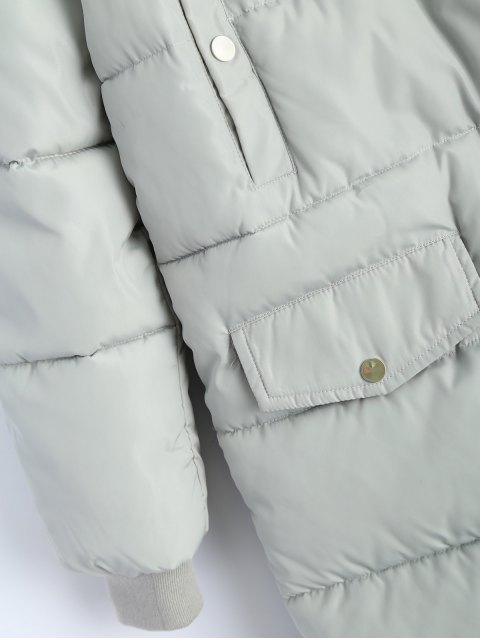 buy Hooded Quilted Padded Coat - GRAY L Mobile
