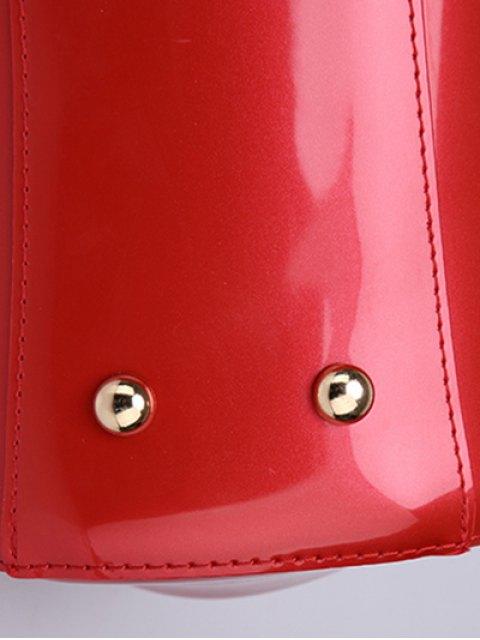 affordable Patent Leather Metal Trimmed Handbag -   Mobile