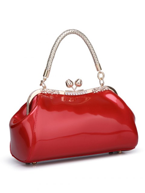 womens Patent Leather Metal Trimmed Handbag -   Mobile