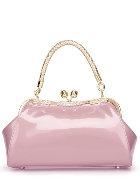 lady Patent Leather Metal Trimmed Handbag -   Mobile