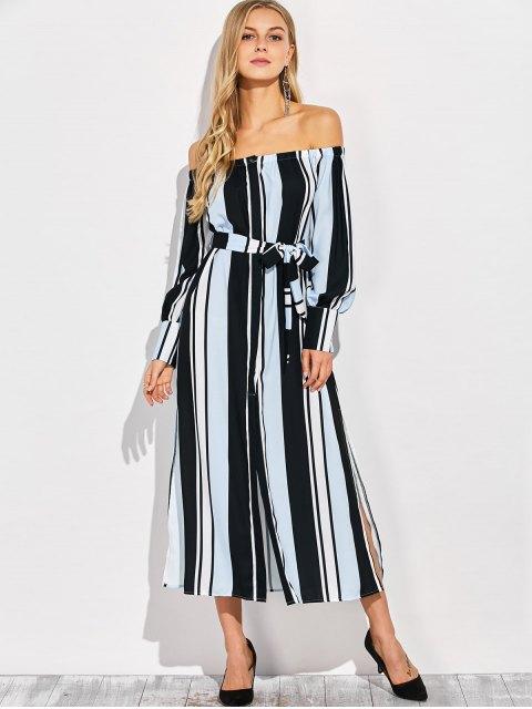 ladies Vertical Stripe Off The Shoulder Maxi Dress - COLORMIX M Mobile
