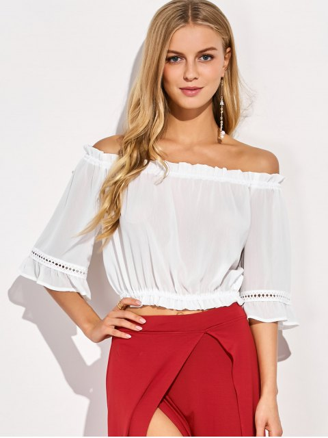 latest Elastic Hem Off The Shoulder Top - WHITE XL Mobile