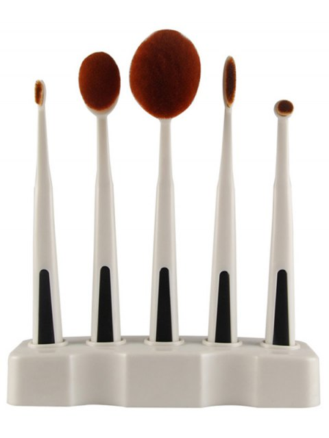 womens 5 Pcs Toothbrush Shape Makeup Brushes Set with Holder - WHITE  Mobile