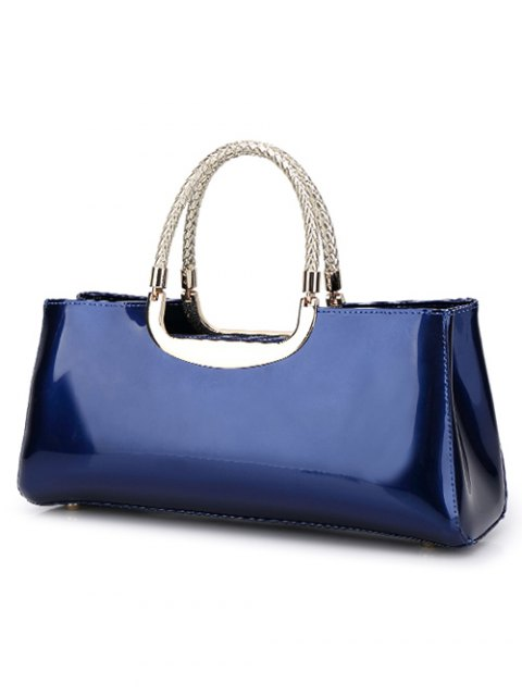 hot Braid Patent Leather Handbag - SAPPHIRE BLUE  Mobile