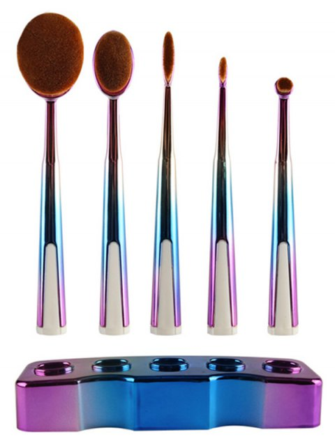 women 5 Pcs Ombre Toothbrush Shape Makeup Brushes Set with Holder - BLUE  Mobile