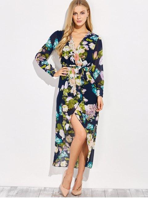 shops Floral V Neck Asymmetric Surplice Maxi Dress - FLORAL L Mobile