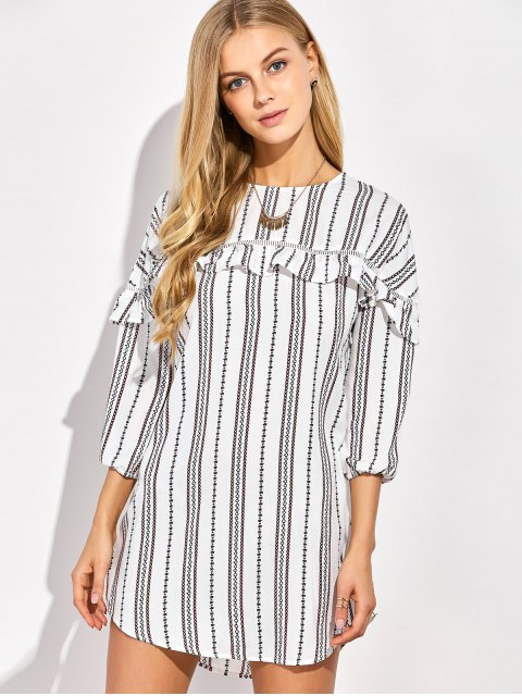 lady Round Neck Ruffles Striped Shift Dress - WHITE L Mobile
