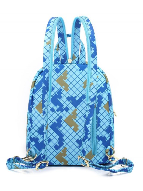 new Argyle Pattern Zippers Colour Block Backpack - AZURE  Mobile