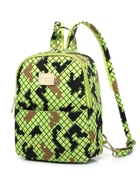 hot Argyle Pattern Zippers Colour Block Backpack - FLUORESCENT YELLOW  Mobile