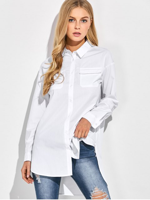 lady Oversized Boyfriend Shirt With Pocket - WHITE L Mobile