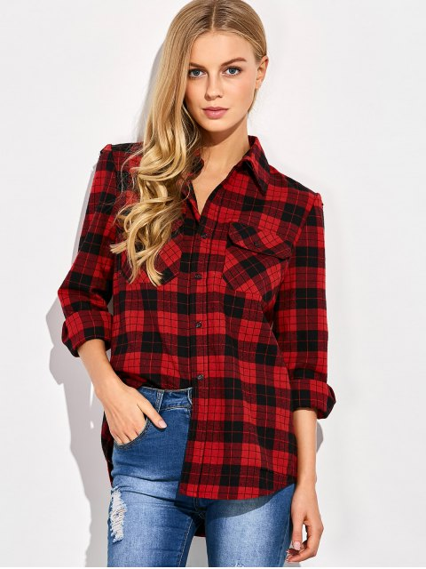 hot Tartan Print Casual Shirt - RED WITH BLACK XL Mobile