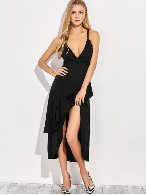 womens Thin Strap Asymmetric Ruffled Cocktail Dress - BLACK 2XL Mobile