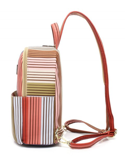 shops Striped Metal Zippers Backpack - LIGHT BROWN  Mobile