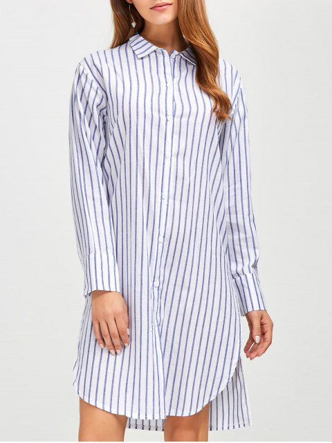 women's Slit Loose Striped Shirt - BLUE S Mobile