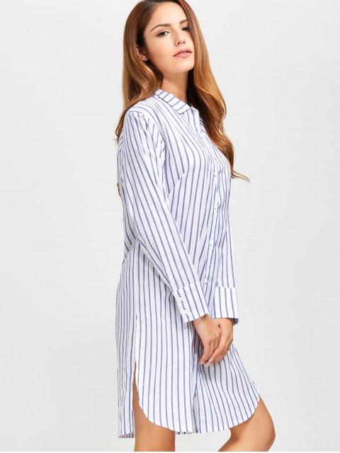 women's Slit Loose Striped Shirt - BLUE S Mobile